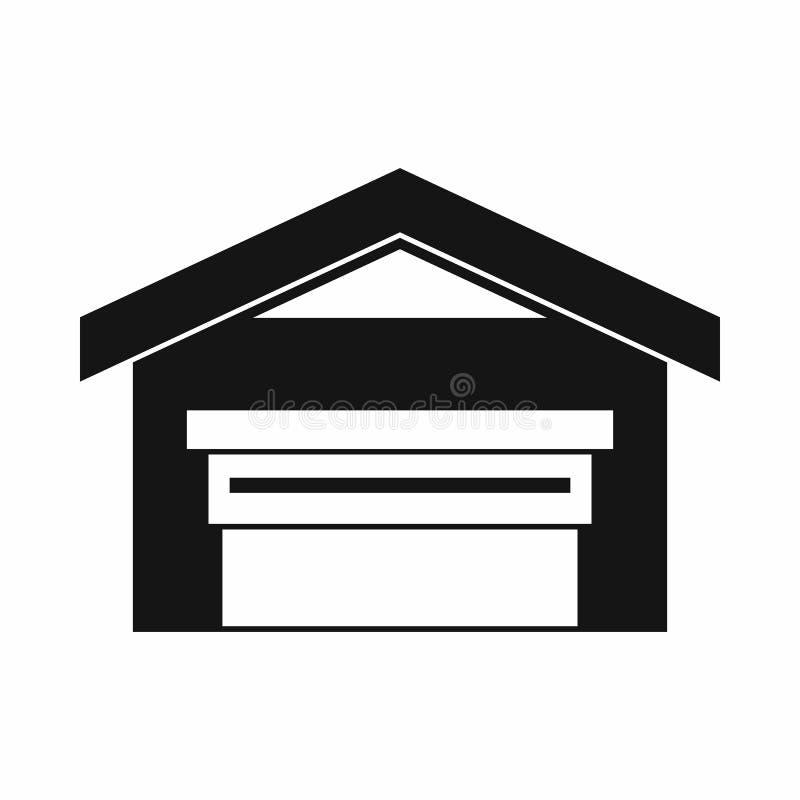 Гараж с значком крыши, простым стилем иллюстрация штока