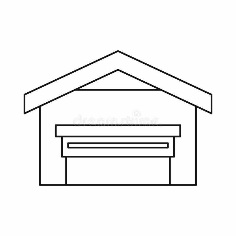 Гараж с значком крыши, стилем плана иллюстрация штока
