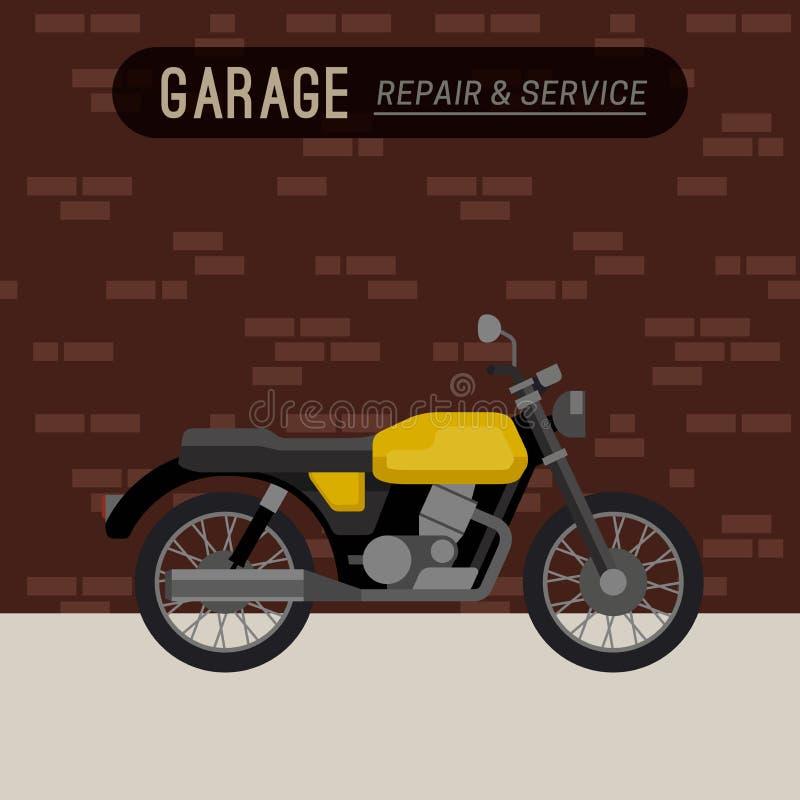 Гараж с мотоциклом бесплатная иллюстрация
