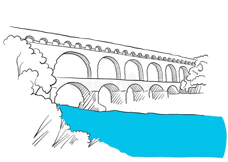 Гар Du Pont Лангедок, Nimes Франция, эскиз иллюстрация вектора