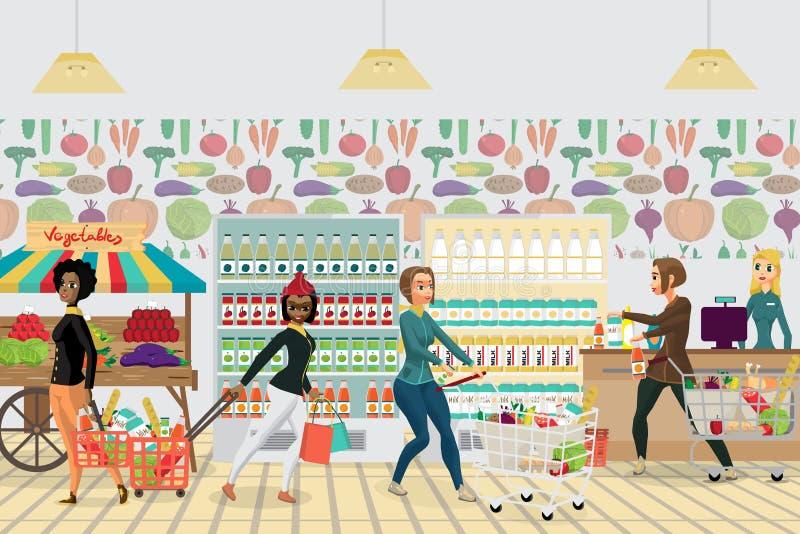 Гастроном супермаркета Еда покупки женщин, молоко, овощи и бесплатная иллюстрация