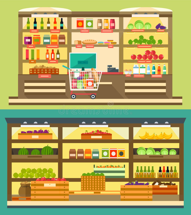 Гастроном, супермаркет shelves с едой и питьем бесплатная иллюстрация