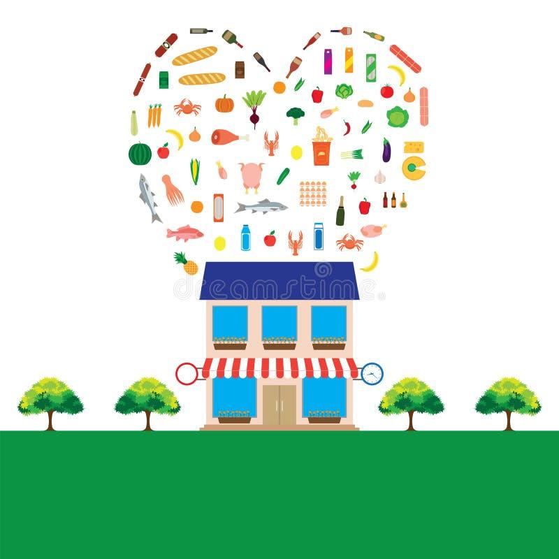 Гастроном с большим собранием продуктов питания иллюстрация вектора