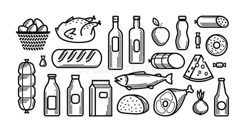 Гастроном Установленные значки еды и пить также вектор иллюстрации притяжки corel бесплатная иллюстрация