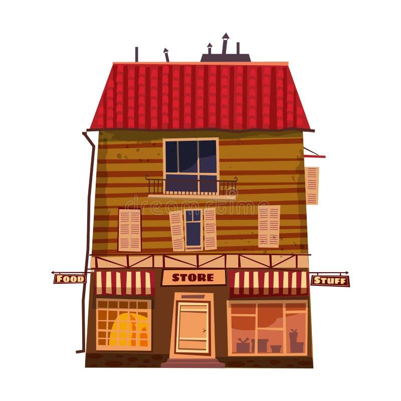Гастроном, фасад магазина, здание Иллюстрация вектора для дизайна дома магазина местного рынка Изолированный стиль мультфильма, иллюстрация штока