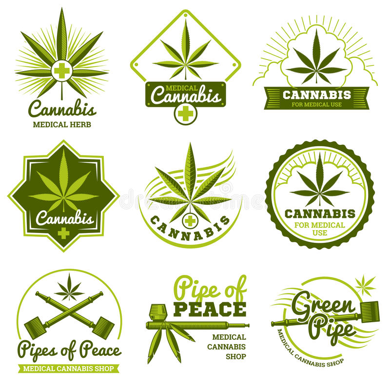 Гашиш, rastaman, пенька, конопля vector логотипы и комплект ярлыков иллюстрация вектора