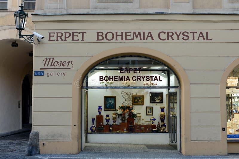 Галерея богемского кристалла в Праге стоковое изображение rf