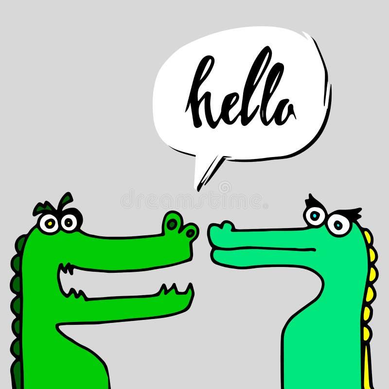 Гад хищника шаржа зеленого цвета аллигатора иллюстрации вектора крокодила животный иллюстрация вектора