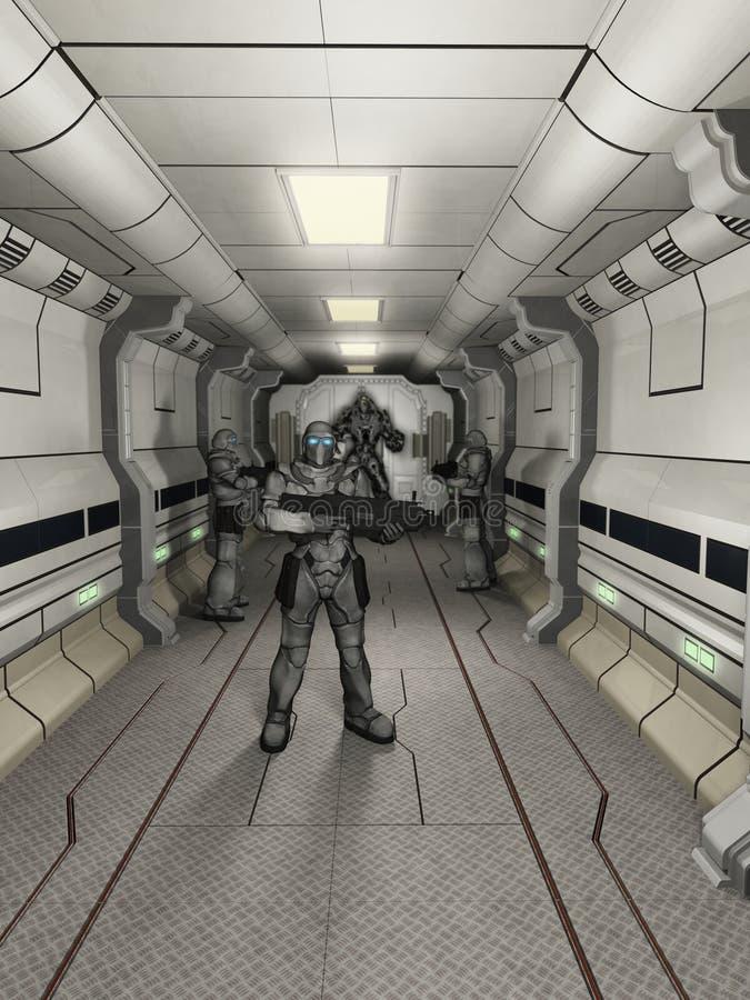 Гвардейцы космоса морские на состоянии боевой готовности иллюстрация штока