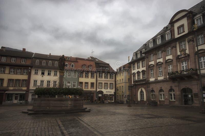 Гейдельберг/Германия - 1-ое января - 2016: Городская площадь Гейдельберга на дне нового года стоковые изображения rf