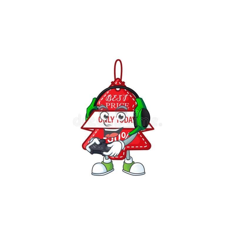 геймер christmas лучший ценник мультипликационного персонажа с наушниками и контроллером бесплатная иллюстрация