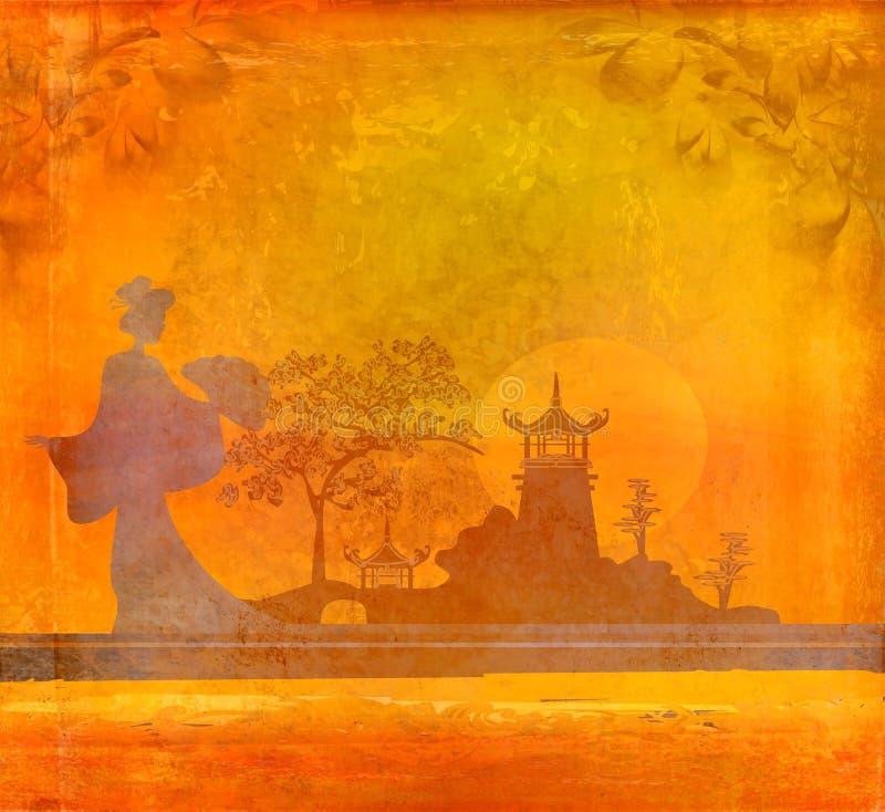 Гейша на заходе солнца бесплатная иллюстрация