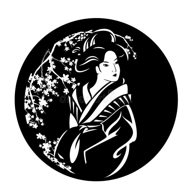 Гейша среди дизайна вектора черноты цветения Сакуры иллюстрация вектора