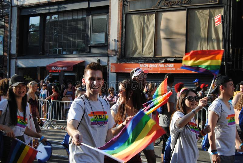 Гей-парад, гордость NYC -го март Нью-Йорка, NY, США стоковое фото rf