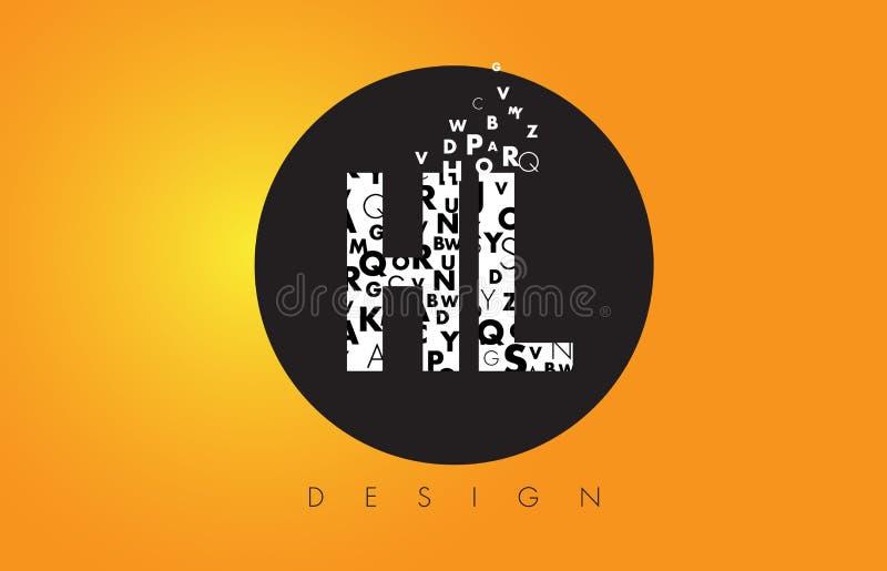 ГЕКТОЛИТР h l логотип сделанный маленьких букв с черным кругом и желтым b иллюстрация вектора