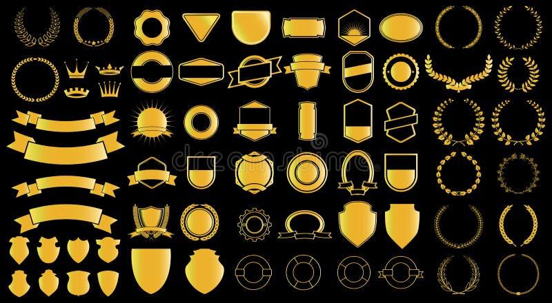 Генератор ladels и badjes стиля золота иллюстрация вектора