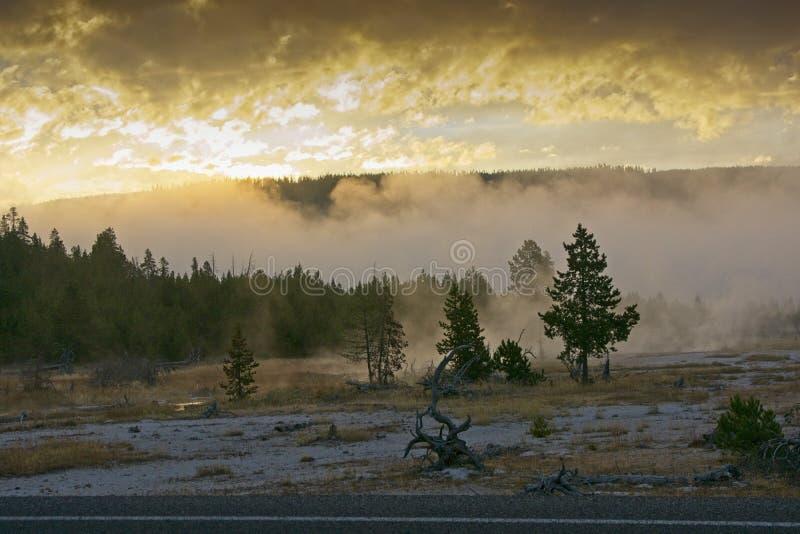 Гениальный восход солнца в парке Йеллоустон стоковые фото