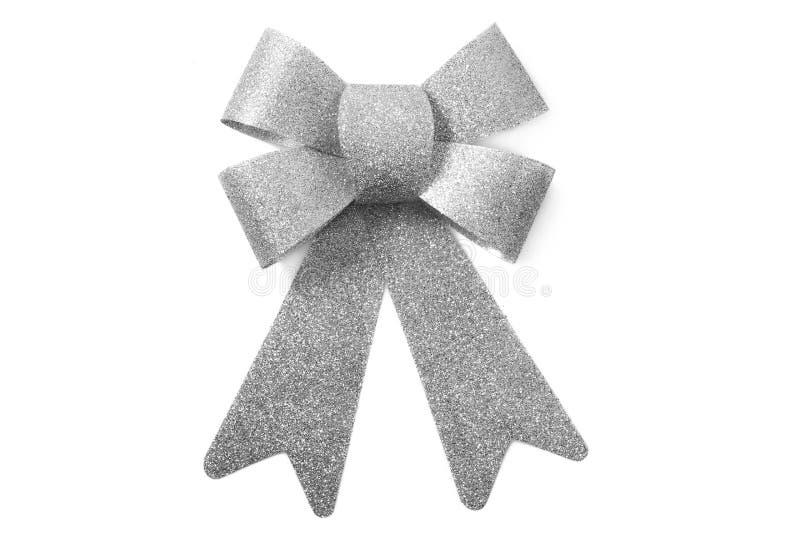 Гениальный серебряный смычок изолированный над белой предпосылкой стоковые фотографии rf