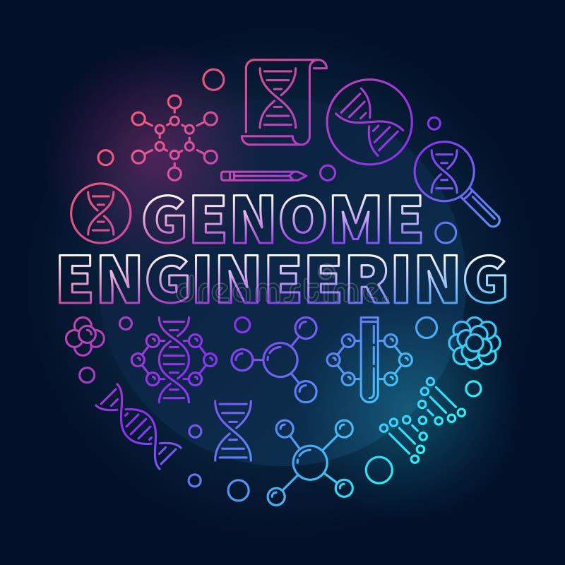 Геном проектируя линию иллюстрацию циркуляра вектора покрашенную иллюстрация вектора