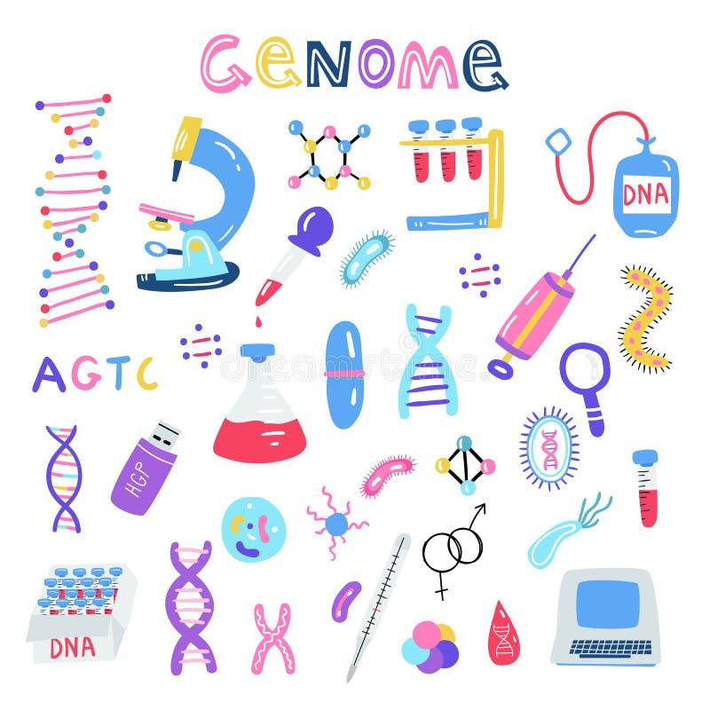 Геном руки вычерченный sequencing иллюстрация Человеческие символы технологии исследования дна иллюстрация штока