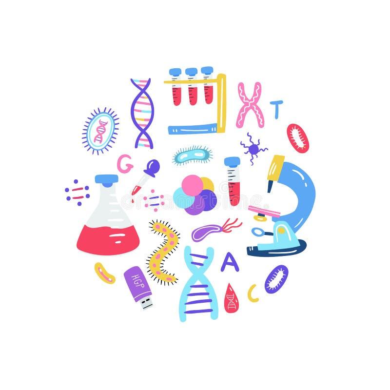 Геном руки вычерченный sequencing концепция Человеческие символы технологии исследования дна иллюстрация штока