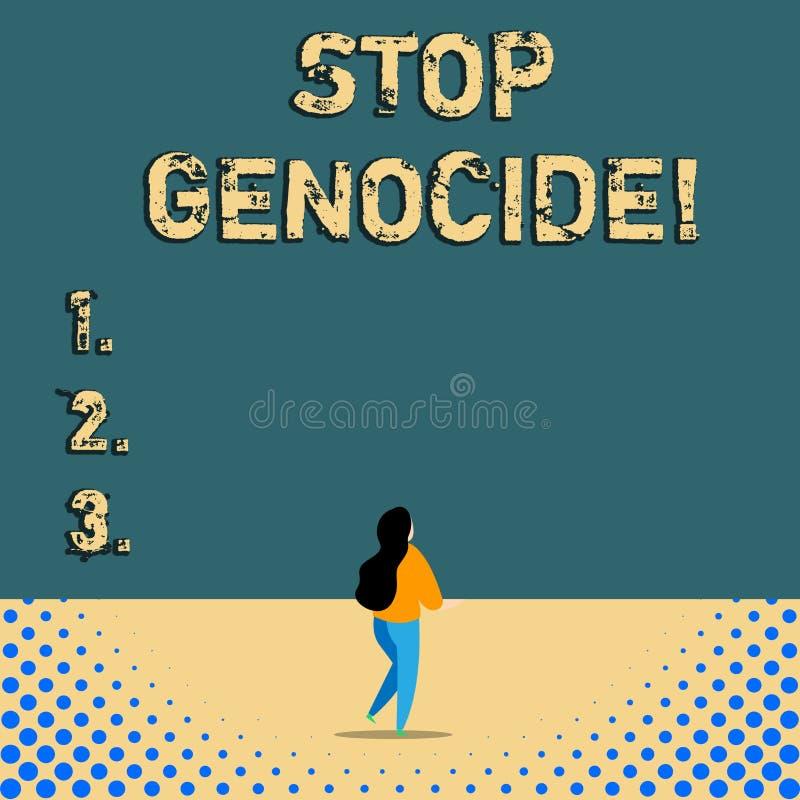 Геноцид стопа показа знака текста Схематическое фото для установки конца на убийства и зверства показа иллюстрация штока