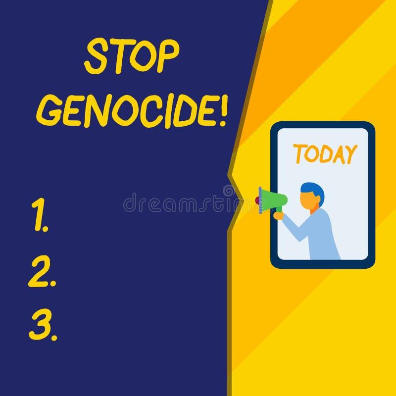 Геноцид стопа показа знака текста Схематическое фото для установки конца на убийства и зверства показа бесплатная иллюстрация