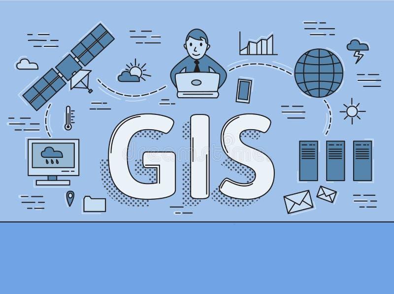 Географическая информационная система, линия концепция GIS плоская Иллюстрация вектора на голубой предпосылке горизонтально иллюстрация вектора