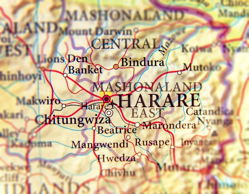 Географическая карта Зимбабве и столицы Хараре стоковое фото