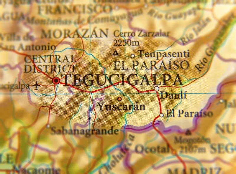 Географическая карта конца Тегусигальпы города Гондураса стоковая фотография rf