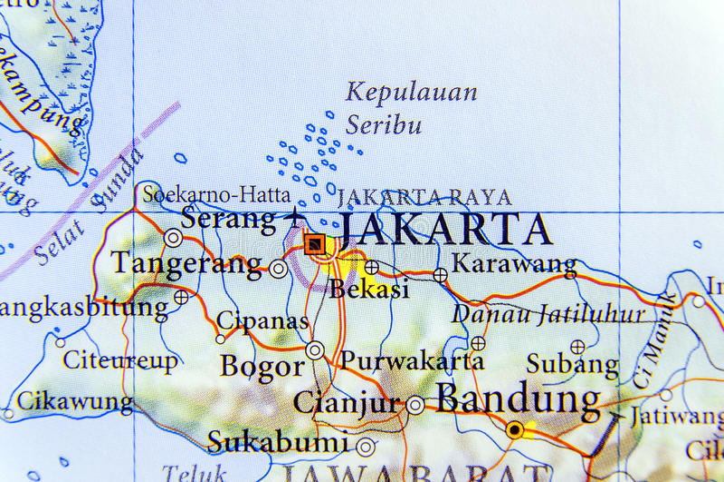 Географическая карта столицы Джакарты Индонезии стоковое фото