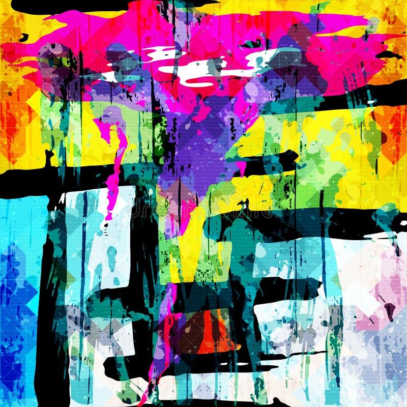 Геометрическая абстрактная картина цвета в стиле граффити качественная иллюстрация вектора для вашего дизайна стоковое фото