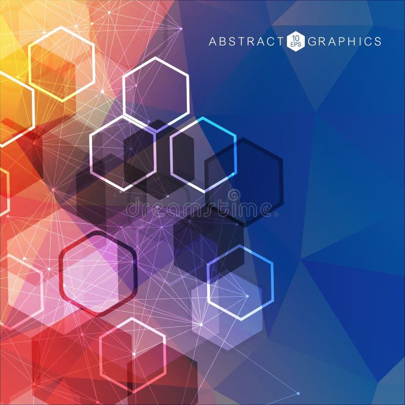 Геометрическая абстрактная предпосылка с соединенными линией и точками Молекула и связь структуры Большое визуализирование данных бесплатная иллюстрация