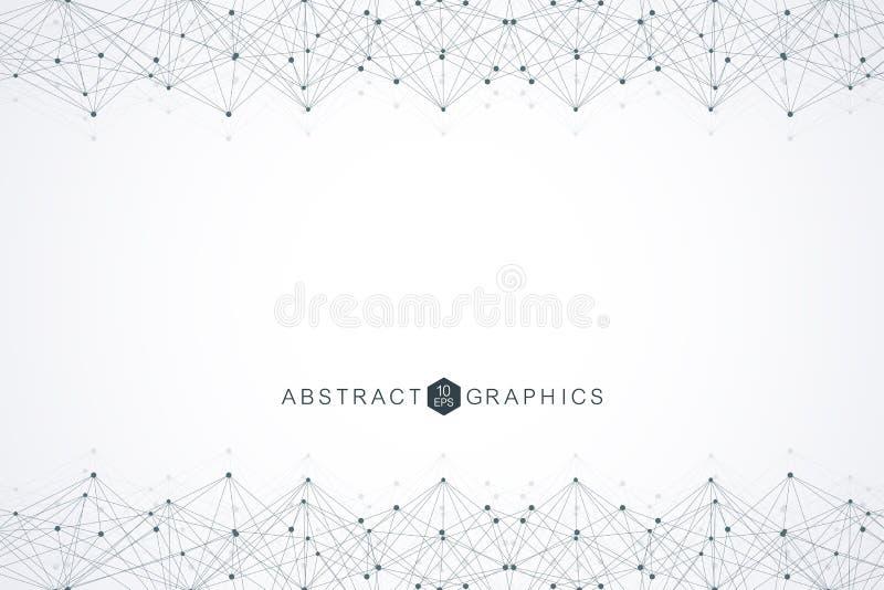 Геометрическая абстрактная предпосылка с соединенными линией и точками Большое визуализирование данных Соединение глобальной вычи иллюстрация штока