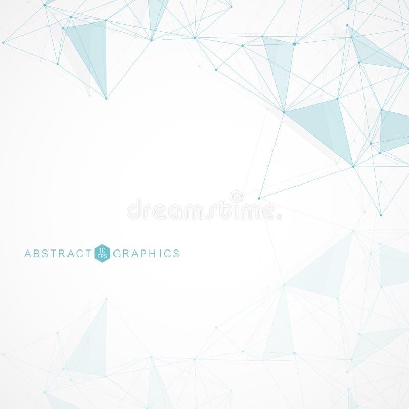 Геометрическая абстрактная предпосылка с соединенными линией и точками Молекула и связь структуры Большое визуализирование данных иллюстрация вектора