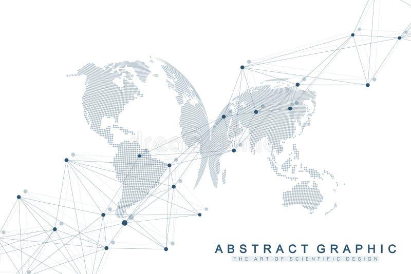 Геометрическая абстрактная предпосылка с соединенными линией и точками Предпосылка сети и соединения для вашего представления бесплатная иллюстрация