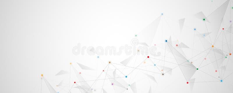 Геометрическая абстрактная предпосылка с соединенными точками и линиями Молекулярная структура и концепция связи цифрово бесплатная иллюстрация