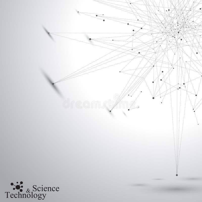 Геометрическая абстрактная форма с соединенными линиями и точками Предпосылка Tecnology серая для вашего дизайна также вектор илл иллюстрация штока