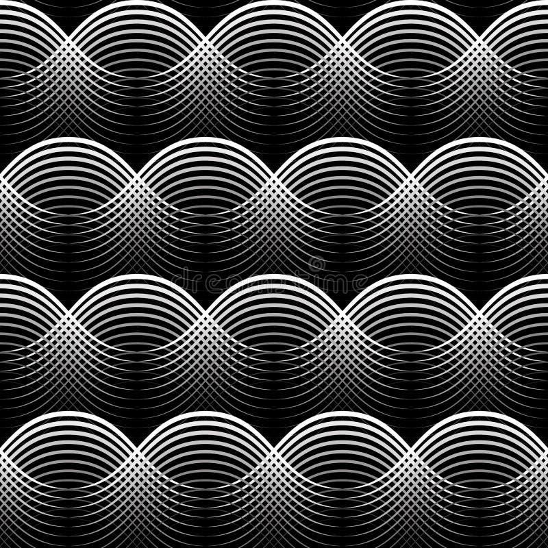 Геометрическая безшовная белизна картины развевает на черной предпосылке иллюстрация вектора