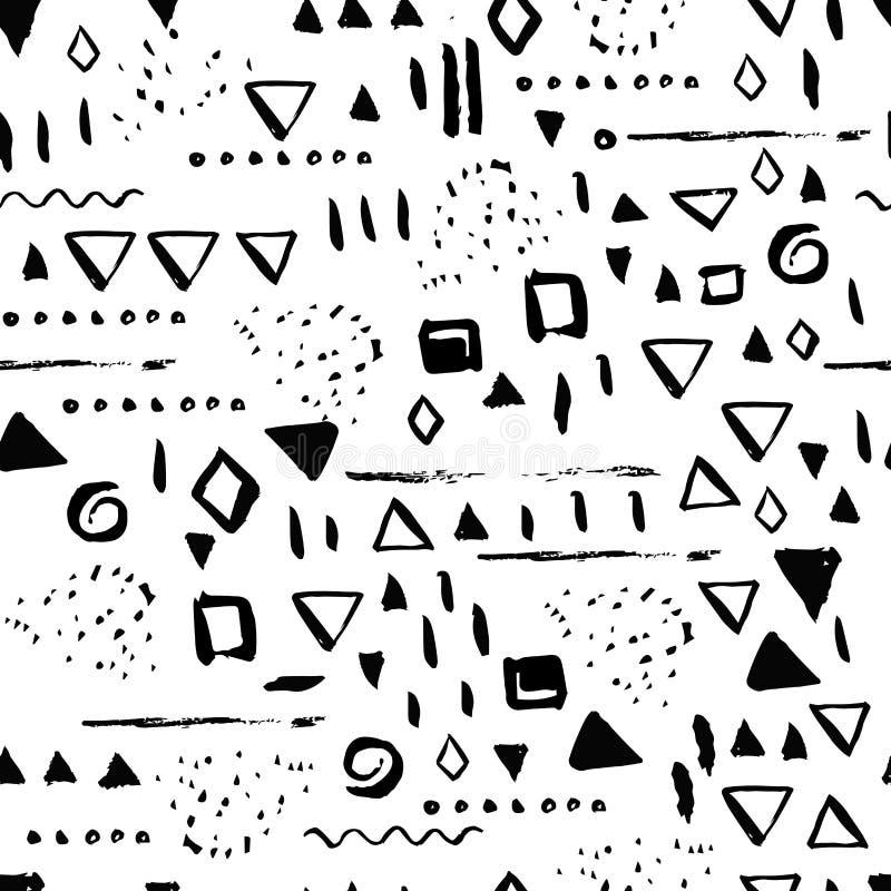 Геометрическая безшовная картина с линиями и квадратами Минимальная скандинавская современная предпосылка вектора для ткани, бума иллюстрация штока