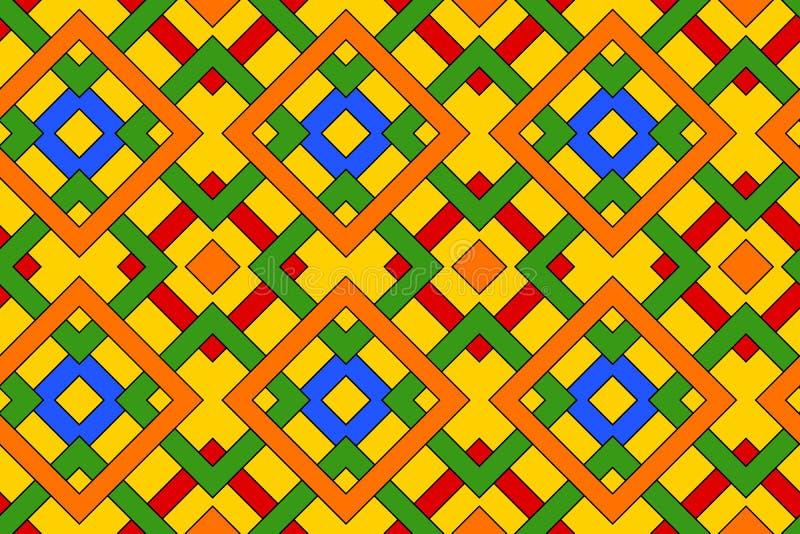Геометрическая безшовная картина с кельтским орнаментом красных, голубых, зеленых, оранжевых, и желтых теней иллюстрация штока