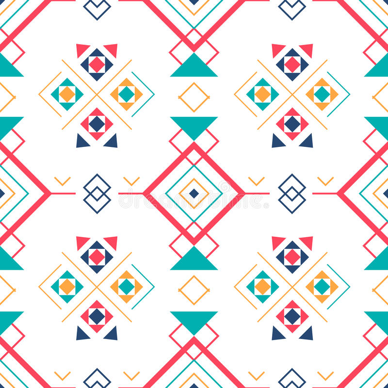 Геометрическая безшовная картина с этническим орнаментом предпосылка ethno ацтекская абстрактная иллюстрация вектора