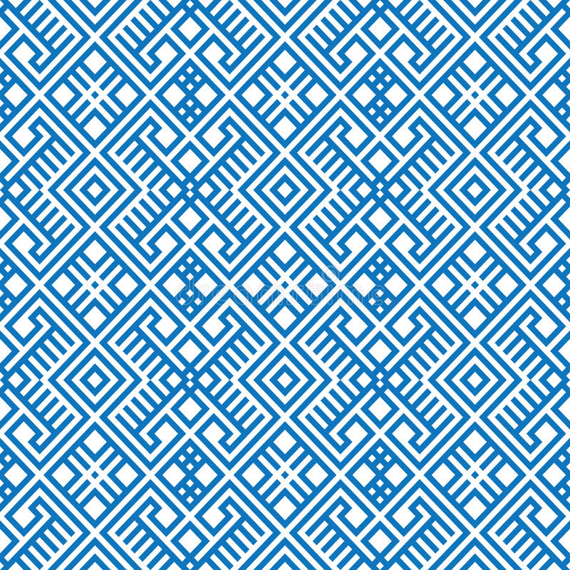Геометрическая безшовная этническая предпосылка картины в голубых и белых цветах иллюстрация вектора