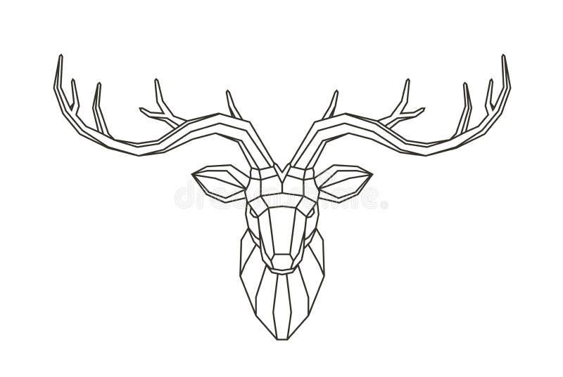 Геометрическая голова оленей Абстрактное животное Низкая поли линия иллюстрация вектора искусства бесплатная иллюстрация