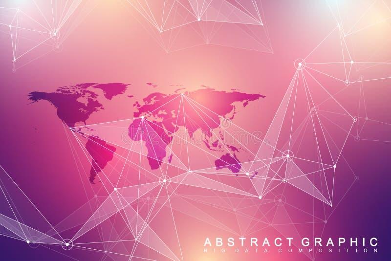 Геометрическая графическая связь предпосылки Большой комплекс данных с политической картой мира иллюстрация вектора