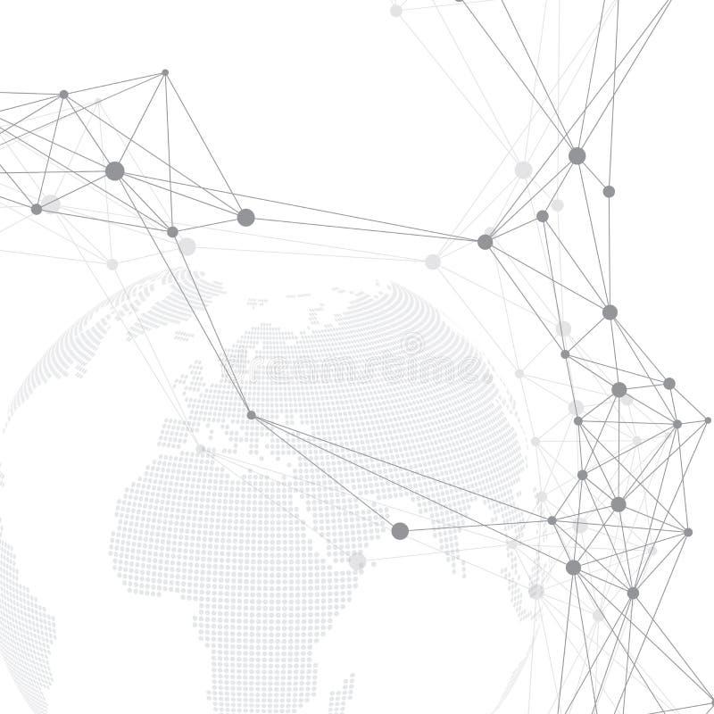 Геометрическая графическая связь предпосылки Большой комплекс данных с планетой Смеси частицы Соединение глобальной вычислительно иллюстрация вектора