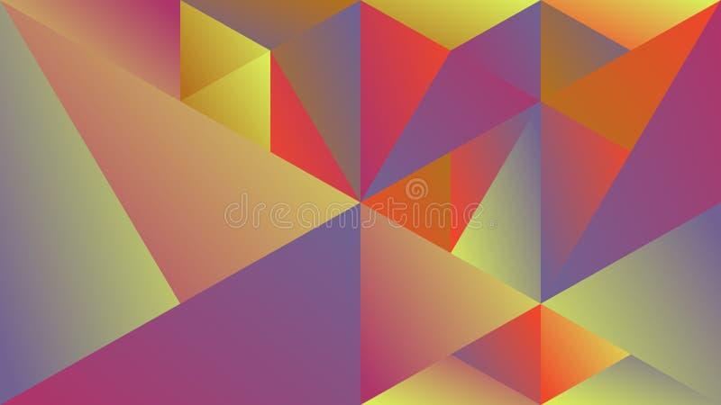 Геометрическая динамическая пестротканая предпосылка hd мозаики треугольника градиента иллюстрация вектора