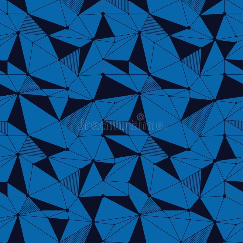 Геометрическая линия картина битника безшовная с треугольником, точкой Сетчатая абстрактная линейная решетка Ретро scrapbook вект иллюстрация вектора