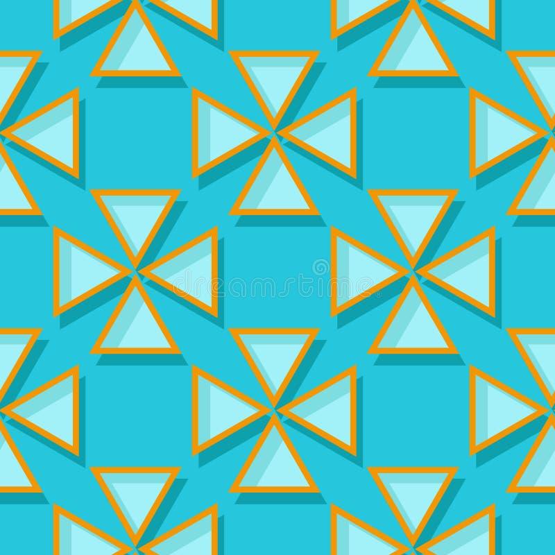 геометрическая картина безшовная Дизайн голубых и апельсина 3d бесплатная иллюстрация