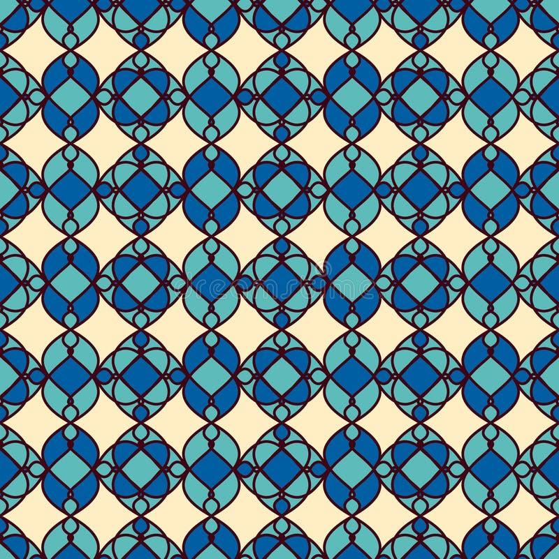 геометрическая картина безшовная картина безшовная Cream голубая предпосылка иллюстрация штока